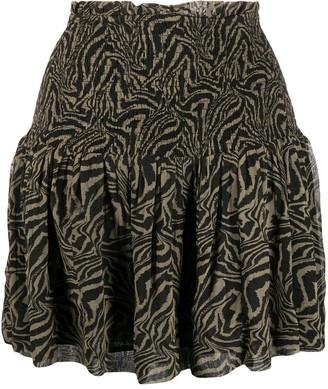 Ganni Shirred Tiger Print Skirt