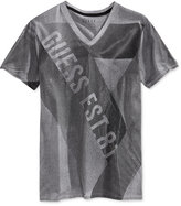 GUESS Men's Linear Graphic-Print Logo V-Neck T-Shirt