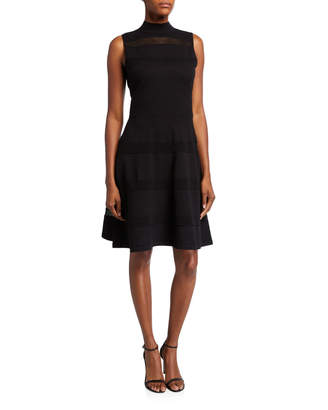 Kate Spade mock-neck sleeveless mesh panel sweater dress