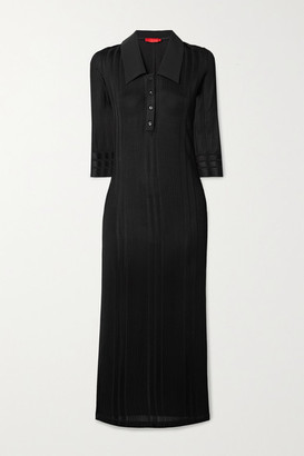 Commission - Ribbed Stretch-knit Midi Shirt Dress - Black