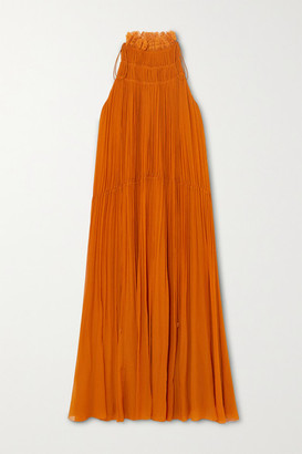 Chloé Ruffled Embroidered Tulle-trimmed Silk-crepon Midi Dress - Orange