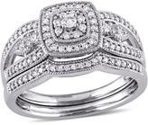 Ice Julie Leah 3/8 CT TW Diamond Vintage Halo Bridal Ring Set in 10k White Gold