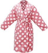 Simplicity Girl's Winter Plush Bathrobe Robe w/ Long Sleeve,PocketsMuti Dot1,L