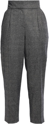 Brunello Cucinelli Metallic Prince Of Wales Checked Wool-blend Tapered Pants