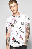 Boohoo Skater Length Splatter Badge T Shirt