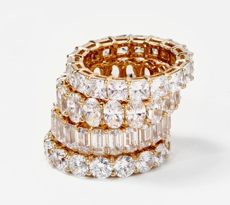 Diamonique Yellow Choice of Cut Eternity Band Ring, 14K Gold Clad