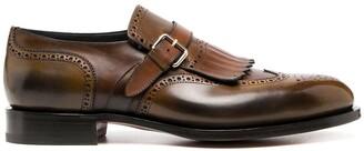 Santoni Fringed Leather Monk Shoes