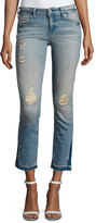 True Religion Cora Straight Crop Denim Jeans, Blue Dream Destroyed