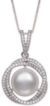 """Belle de Mer Cultured Freshwater Pearl (11mm) & Cubic Zirconia 18"""" Pendant Necklace in Sterling Silver"""