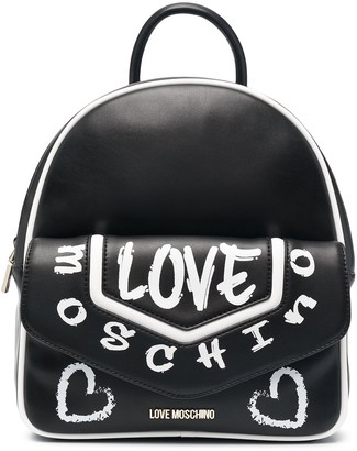 Love Moschino Graffiti Print Faux Leather Backpack