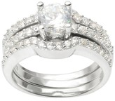 Journee Collection 2 CT. T.W. Round Cut CZ Basket Set Elegant Ring in Sterling Silver