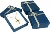 FindingKing 6 Blue Bowtie Pendant & Earring Display Gift Boxes
