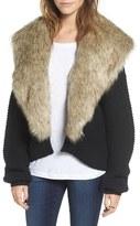 Sun & Shadow Women's Faux Fur Collar Cardigan