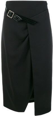 Givenchy wool cross-over mid-length skirt