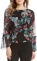 Karen Kane Floral Print Bell Sleeve Blouse