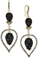 INC International Concepts Gold-Tone Jet Glitter Stone and Pavé Orbital Drop Earrings, Only at Macy's