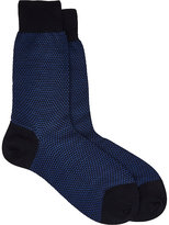 Barneys New York MEN'S INTARSIA-KNIT SOCKS-NAVY SIZE S/M