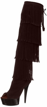 The Highest Heel Women's Amber 305 Thigh High Open Toe Microsuede Fringe Boot Over The Knee