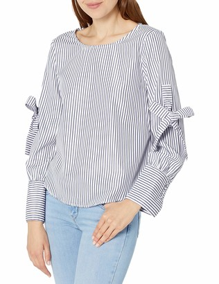 Blu Pepper Women's Long Sleeve Striped Poplin Shirt with Ties