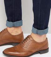 Asos Wide Fit Oxford Brogue Shoes in Tan Leather