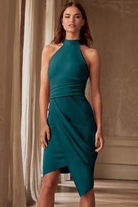 Lipsy Halter Neck Asymmetric Bodycon Dress - 6 - Green