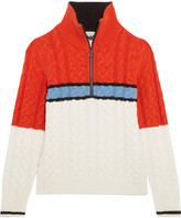 Topshop Sno - Color-block Cable-knit Turtleneck Sweater - Orange