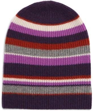Halogen Cashmere Striped Beanie