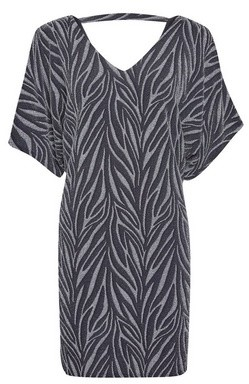 Dorothy Perkins Womens Billie & Blossom Petite Silver Zebra Print Shift Batwing Dress, Silver