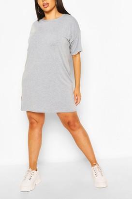 boohoo Plus Basic Jersey Oversized T-Shirt Dress