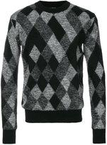 Saint Laurent argyle embroidered sweater