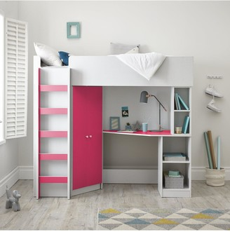 Miami Fresh High Sleeper Bed with Desk, Wardrobe and Shelves - Pink