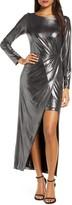 Julia Jordan Metallic Front Slit Long Sleeve Knit Maxi Dress