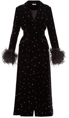Miu Miu Crystal Single Breasted Velvet Evening Coat - Womens - Black