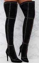 PrettyLittleThing Black Faux Suede Studded Thigh High Boots