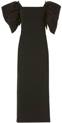 Carolina Herrera Puff-Sleeve Cold-Shoulder Wool-Blend Sheath Dress