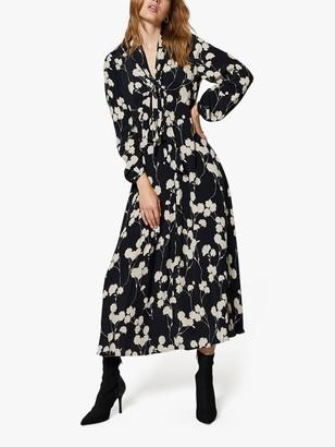 Mint Velvet Abi Floral Print Tie Neck Midi Dress, Multi