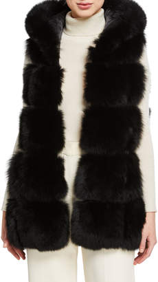 Belle Fare Fox Fur Hooded A-Line Vest