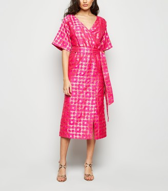 New Look Nesavaali Bright Metallic Jacquard Midi Dress