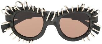 Kuboraum L2 piercing-embellished sunglasses