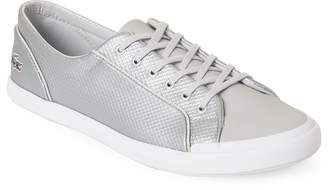 Lacoste Silver Lancelle Embossed Metallic Low-Top Sneakers