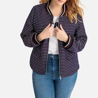 Castaluna Plus Size Jacquard Tweed Bomber Jacket