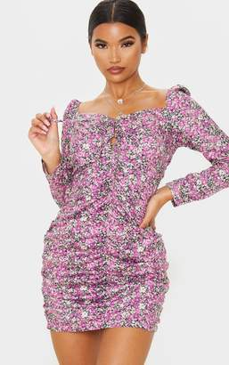 PrettyLittleThing Pink Ditsy Floral Ruched Front Lace Up Bodycon Dress