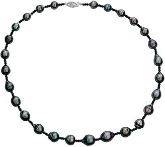BELPEARL 14K Black Spinel & 9-11Mm Tahitian Pearl Necklace