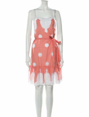 Miguelina Lace Pattern Knee-Length Dress w/ Tags Pink