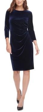 Eliza J Velvet Ruched Sheath Dress