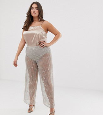 ASOS DESIGN Curve wide leg pants in mesh with embellishment