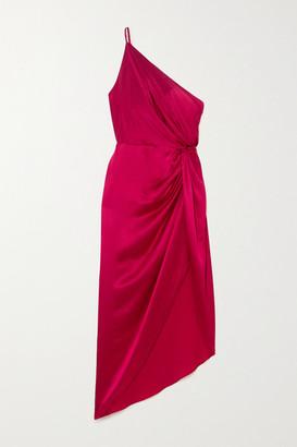 Mason by Michelle Mason One-shoulder Asymmetric Twisted Silk-satin Dress - Claret