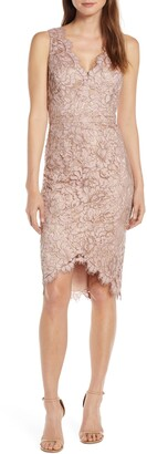 Brinker & Eliza Tulip Hem Lace Cocktail Dress