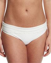 Heidi Klein Ostuni Scalloped Fold-Over Swim Bottom, White