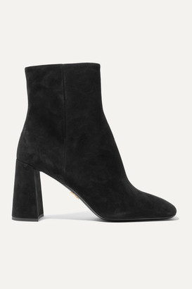 Prada 85 Suede Ankle Boots - Black